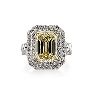 Mark Broumand 7.37ct Fancy Brownish Yellow Emerald Cut Diamond Engagement Ring