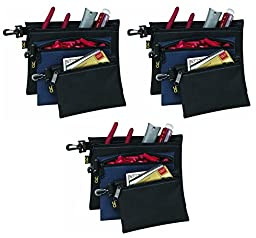 3-PACK - Custom Leathercraft 1100 Multi-Purpose Clip-on Zippered Poly Bags