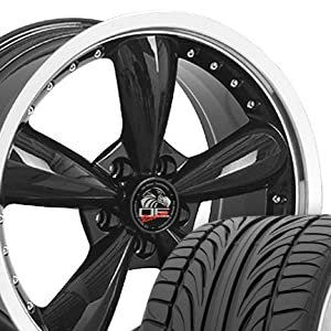 Bullitt Style Deep Dish Wheels and Tires with Rivets and Machined Lip Fits Mustang (R) - Black 20x8.5 Set of 4