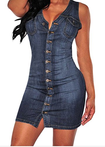 [FQHOME Womens Denim Button Down Sleeveless Dress Size S] (Xxl Santa Suits For Sale)