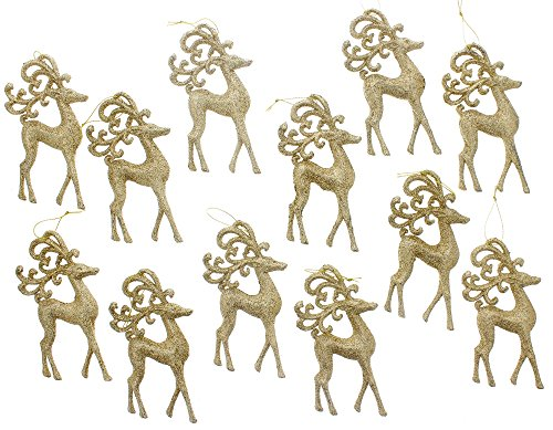 Christmas Holiday Gold Glitter Reindeer Ornaments - Set of 12, 5.5