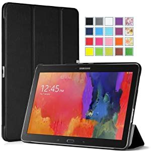 Moko Samsung Galaxy Tab PRO 10.1 Case - Ultra Slim Lightweight Smart-shell Stand Case for Galaxy TabPRO 10.1 SM-T520N Android Tablet, BLACK (With Smart Cover Auto Wake / Sleep)