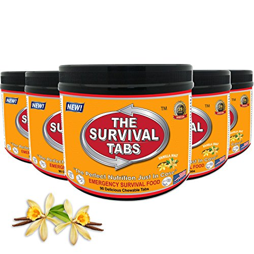 Survival Tabs 37-day Food Supply 450 Tabs Emergency Food Ration Survival MREs Meals Ready-to-eat Bugout Emergency Food Replacement for Travel Camping Boating Biking Hunting Outdoor Activities Also Disaster Preparedness for Earthquake Flood Tsunami Gluten