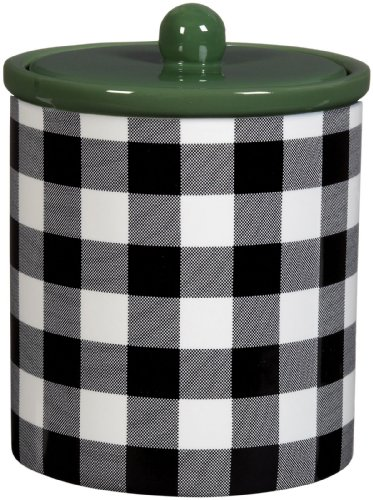 M. Isaac Mizrahi Ceramic Gingham Collection Dog Treat Canister, 32-Ounce