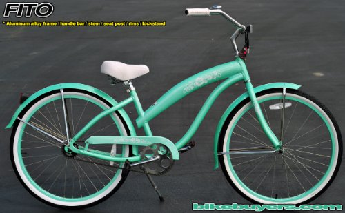 Anti-Rust Aluminum frame, Fito Modena EX Alloy 1-speed Mint Green Women's Beach Cruiser Bike Bicycle Micargi Schwinn Nirve Firmstrong style