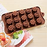 Rose with camellia Flower Ice Cube Chocolate Soap Tray Mold Silicone Party maker (Ships From USA)