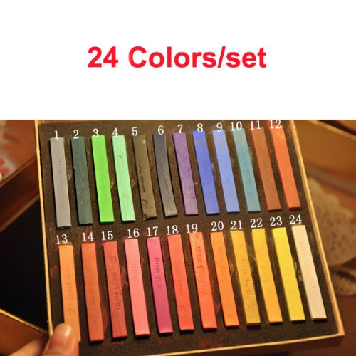 Valentines Day Gifts 24 Soft Chalk Pastels Set for Art Drawing, Scrapbooking & More -Assorted Colors Temporary Hair Chalk