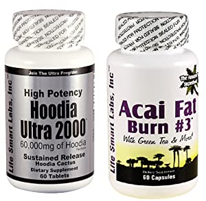Combo Acai Fat Burn 3 And Hoodia Ultra 2000 Diet Pill With Green Tea Grapefruit Apple Cider And More For Weight Loss And 2000mg Of Hoodia by Acai Fat Burn & Hoodia Ultra 2000