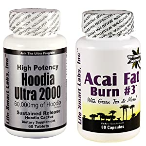 Combo ACAI Fat Burn 3 and Hoodia Ultra 2000 Diet Pill with Green Tea, Grapefruit, Apple Cider, and more for Weight Loss and 2000mg of Hoodia