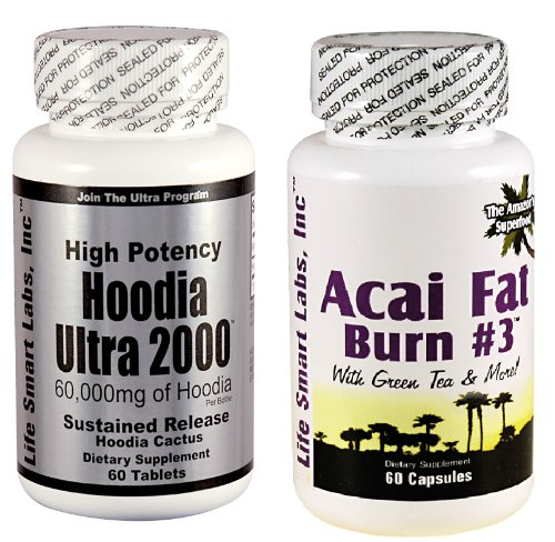 Combo ACAI Fat Burn #3 and Hoodia Ultra 2000 Diet Pill with Green Tea, Grapefruit, Apple Cider, and more for Weight Loss and 2000mg of pur Hoodia Gordonii