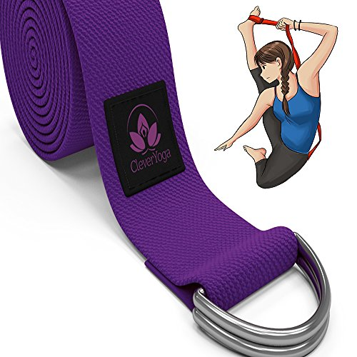 """10-Foot Yoga Strap Made With The Best, Durable Cotton - Comes With Our Special """"Namaste"""" Lifetime Warranty (Purple)"""