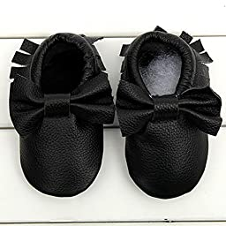 Voberry® Baby Moccasins Bow Shoes Newborn Firstwalker Anti-slip Leather Infant Shoes (XL, Black)