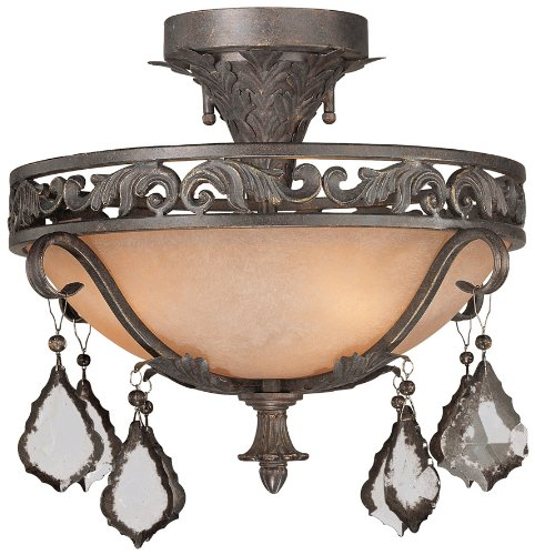 World Imports Lighting 4273-89 Lago 3-Light Semi Flush Fixture, Bronze