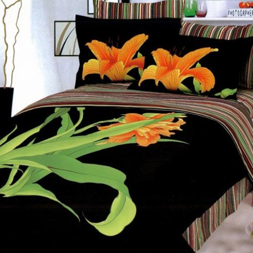 Le Vele Tiger Lily Aliza Black Duvet Cover Bed