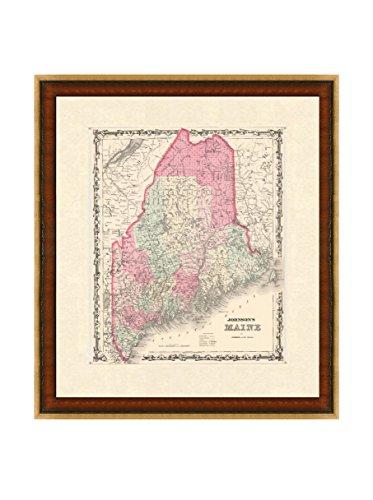Antique Map of Maine, 1860-1863