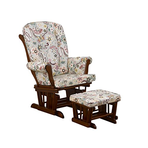 Cotton Tale Designs Glider Floral on Cherry with Ottoman, Penny Lane