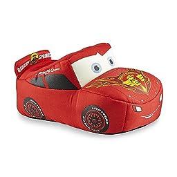Disney Boy\'s Cars Lightning McQueen Red Plush Slipper (11-12 M US Little Kid)