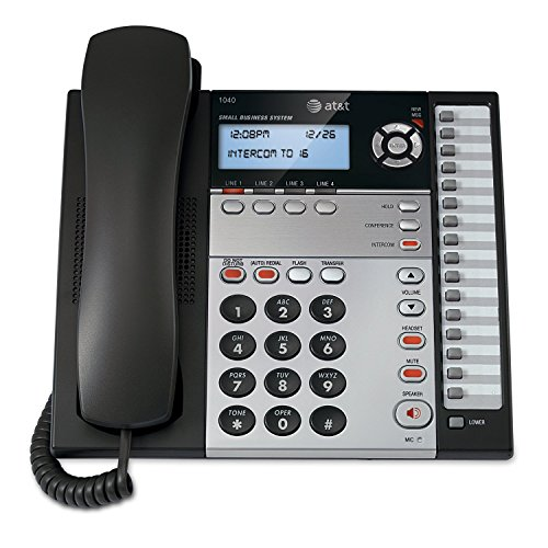 AT&T 1040 4-Line Expandable Corded Phone System with Speakerphone, 1 Handset, Black/Silver