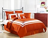 Cozy Beddings Lux Décor 8-Piece Comforter Set, Full, Tangerine with White Stripe