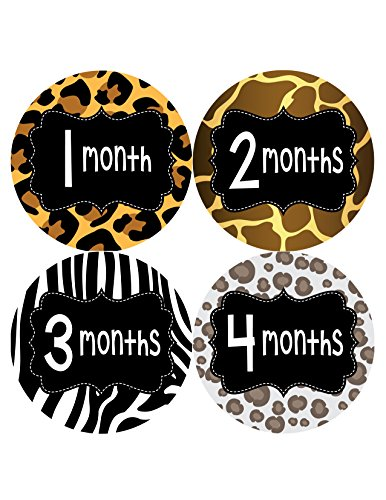 Months in Motion 400 Monthly Baby Animal Print Stickers Baby Girl Month 1-12