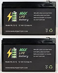 12V 12AH F2 KID TRAX RECHARGEABLE REPLACEMENT BATTERY - 2 Pack by Max Life Battery