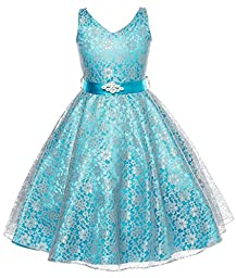 DressForLess Lovely Lace V-Neck Flower Girl Dress , Turquoise, 8