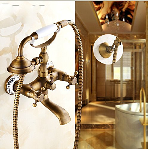 Rozin Wall Mounted Bathtub Faucet Antique Brass Dual Handles Mixer Tap With Hand Shower front-350338