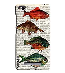 Omnam Four Fish On Newspaper Background Printed Designer Back Cover Case For Xiaomi Mi4i