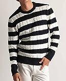 クルーネック ケーブル編み ニット メンズ セーター カラーニット ニットソー 長袖 カジュアル ストリート アメカジ 防寒 秋冬 ネイビー×ホワイト(太ボーダー) Mサイズ