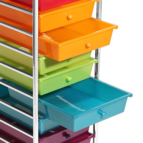 Seville Classics 10-Drawer Organizer Cart, Pearlescent Multi-Color