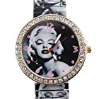 Rayshop - Women's Fashion Simple Marilyn Monroe pattern Style Metal Spring Band Wrist Watch