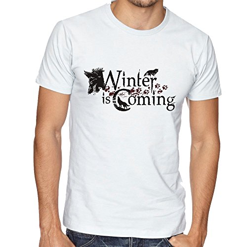 Winter is Coming Wolf Theme Game Of Thrones Awesome Walking Mens Uomo Man White T-shirt