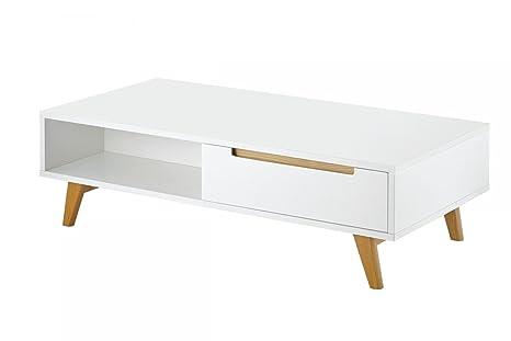 CAGUSTO® Couchtisch LINSELL in weiss matt und Fußen aus Eichenholz massiv, 120 x 60 x 35, Designmöbel im skandinavischen Stil