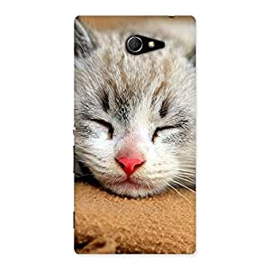 Enticing Premium Cute Sleepings Cat Multicolor Back Case Cover for Sony Xperia M2