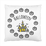 circle pumpkins dracula castle halloween Square Throw Pillow Case Cushion Cover 17 x 17 Inches