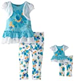 Dollie & Me Girls Floral Crochet Legging Set With Doll Outfit