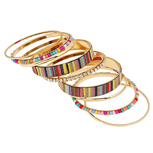 [Maying Boho Party Multi Color Big Cuff Bracelet Handmade Beaded Multilayer Weave Bangle] (Indian Beaded Bracelet)
