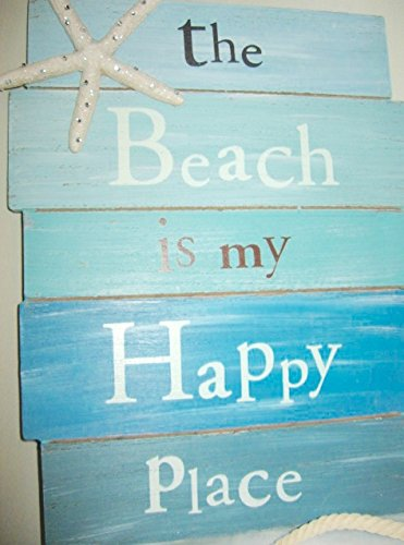 The Beach Is My Happy Place Flip Flop Sign Wall Hooks 4