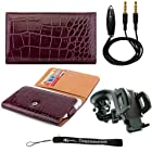 Elegant Crocodile Design Multi-Use Wallet Protective Case with Secure Hand Strap (Burgundy) For LG Escape P870 / LG G2 / LG Nexus 4 / LG Optimus F5 / LG Optimus G / LG Optimus L9 / LG Google Nexus 2 / LG Spectrum 2 + 3.5mm Stereo Audio Cable With Built In Microphone + 360° Car Rotatable Windshield Mount Kit + an eBigValue TM Determination Hand Strap