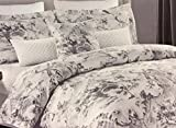 Tahari 3pc Full Queen Duvet Set - Country French Toile in Asian Motif - Shades of Gray with Silver on White
