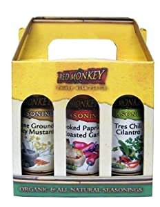 Red Monkey Foods Spicy Seasoning- Chili Cilantro-stone Ground Spicy Mustard-smoke Paprika And Roast Garlic 3 Piece Gift Set from Red Monkey Foods