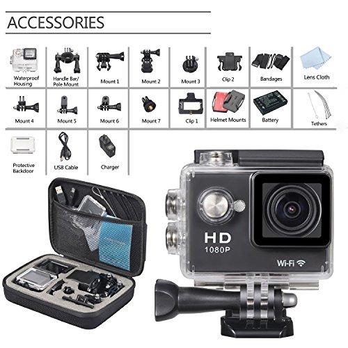 PPLEE Full HD 1080P WiFi 2.0 Inch 170° Wide Angel Lens Waterproof Diving Action Sports Camera Helmet Bicycle Car Video Camera Black