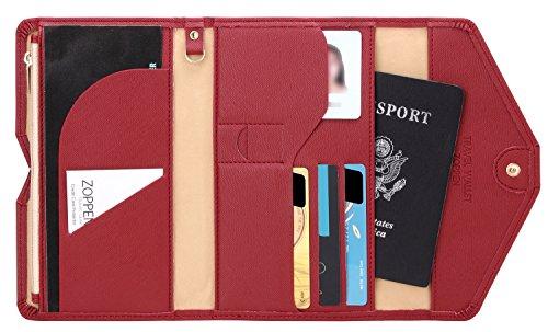Zoppen Mulit-purpose Rfid Blocking Travel Passport Wallet (Ver.4) Trifold Document Organizer Holder, Wine Red