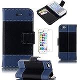 Lumsing iPhone5s / iPhone5 専用 PU レザー 手帳型 ケース カード入れ 付き  横開き ダイアリー タイプ スマホ カバー  スタンド機能 フラップベルト留(マグネット付き) (ブラック+ダークブルー+ブラック)