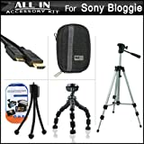 All In Accessories Bundle Kit For Sony Bloggie Live (MHS-TS55), Sony Bloggie Sport HD ( MHS-TS22 ) Video Camera (New Model) Includes Hard Case plus 50 inch Tripod w/ Case + 7 inch Flexible Tripod plus Mini HDMI Cable plus LCD Screen Protectors plus Mini Tabletop Tripod and More