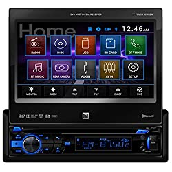 See Dual 1-DIN Bluetooth In-Dash DVD/MP3/USB Flip Out Receiver w/ 7