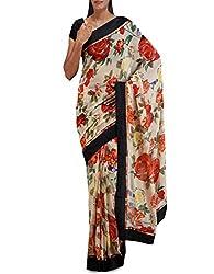 Unnati Silks Women Cream Art Georgette Saree