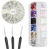 High Quality Professional Nail Art Accessories Set of Silver Gems / Rhinestones / Crystals In Different Shapes, Nailart Gemstones Mixed Colors in Case And Fine Detail Wooden Nailart Brushes By VAGA