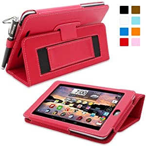 Snugg Nexus 7 Case - Smart Cover with Flip Stand & Lifetime Guarantee (Red Leather) for Google Nexus 7 (2012)