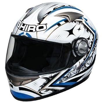 Casque moto intégral SHIRO SH-338 SEPANG - Fibre - Blanc / Bleu
